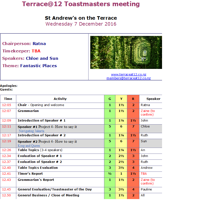 Toastmasters Meeting 9 December 2016 – Fantastic Places