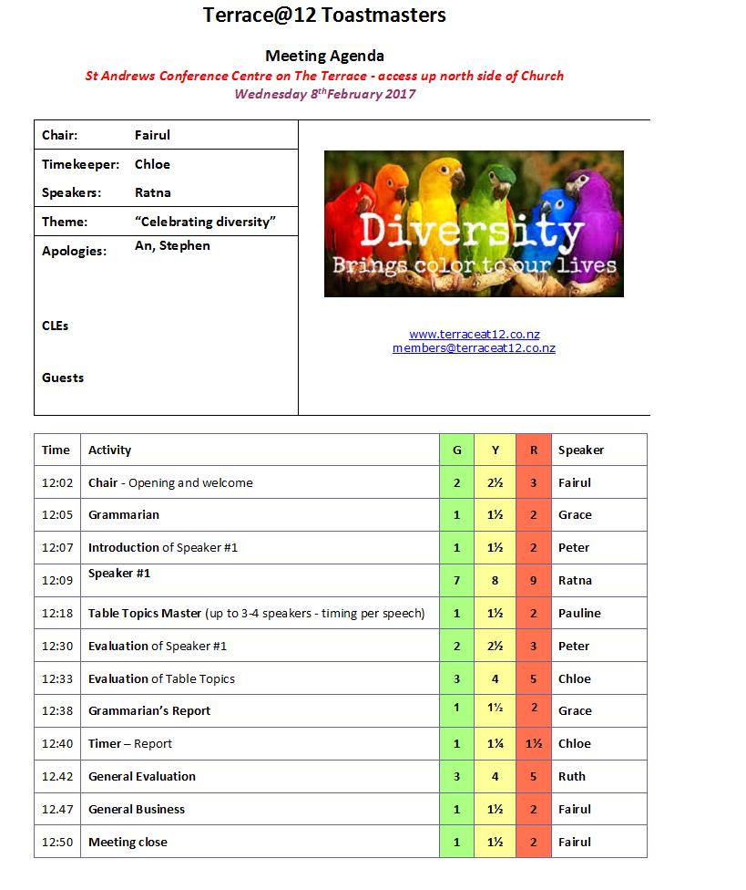 Toastmasters Meeting 8 February – Celebrating Diversity