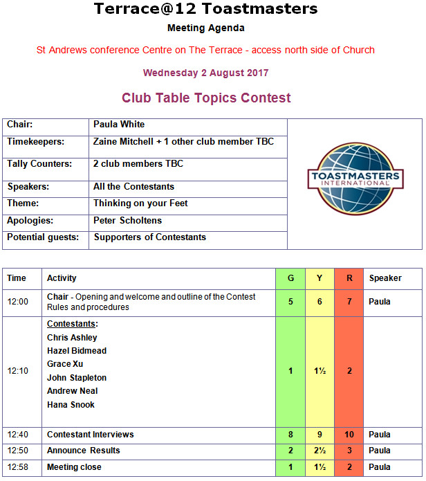 Club Table Topics Contest 2nd Aug