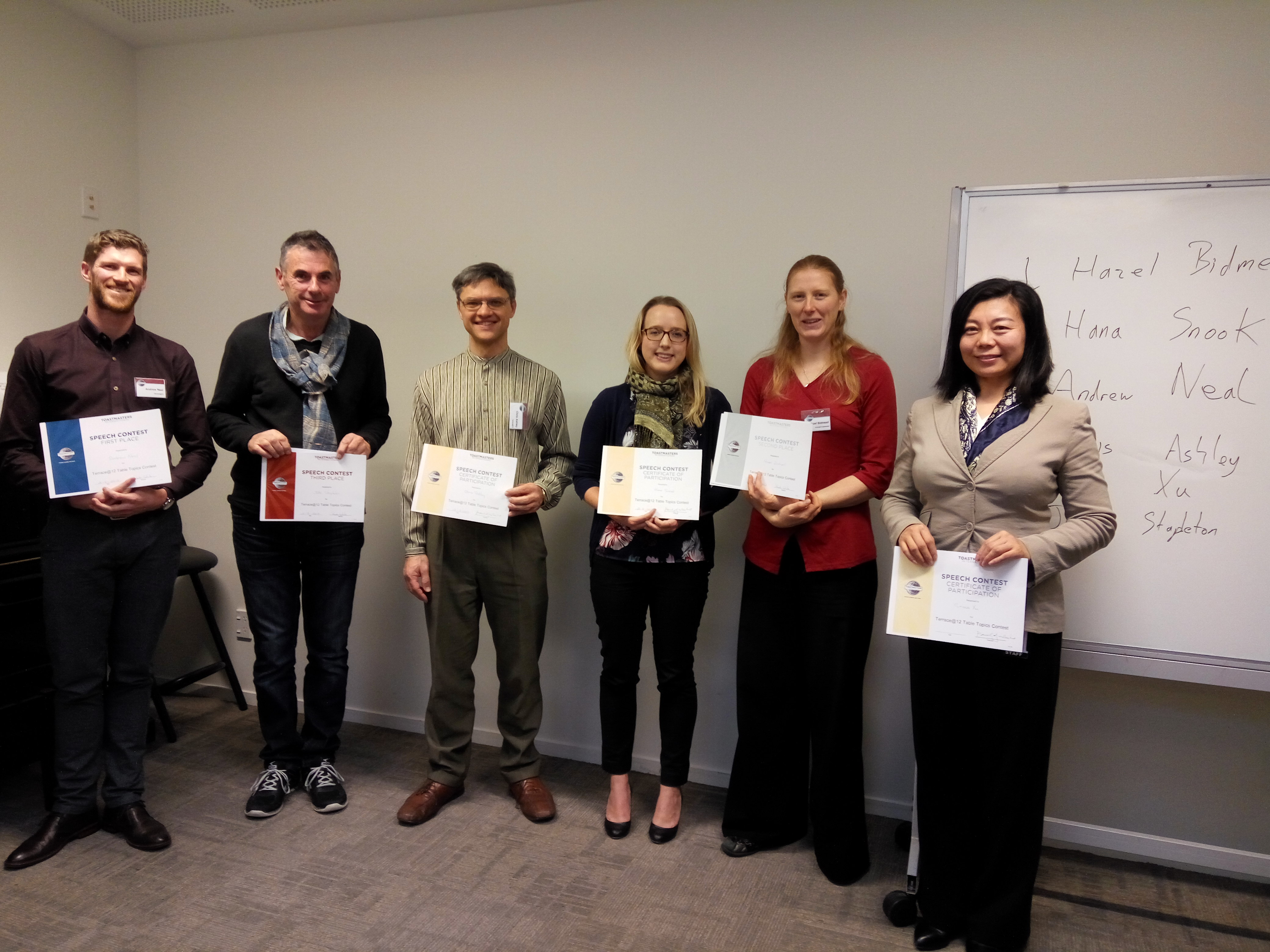 Toastmasters of the day – Table Topics Contestants 2 August