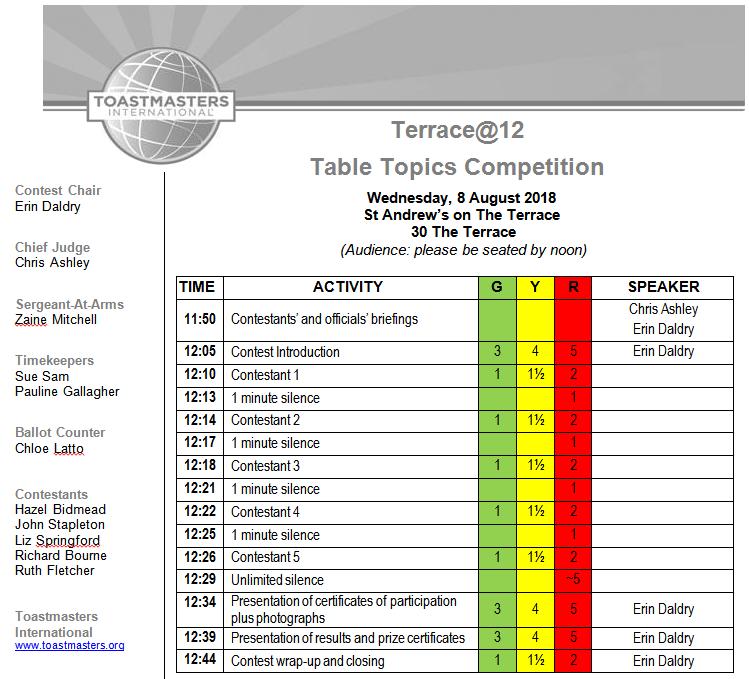 Terrace@12 2018 Table Topics Contest Agenda