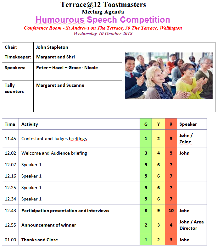 Toastmasters Humourous Speech Compeitition 2018