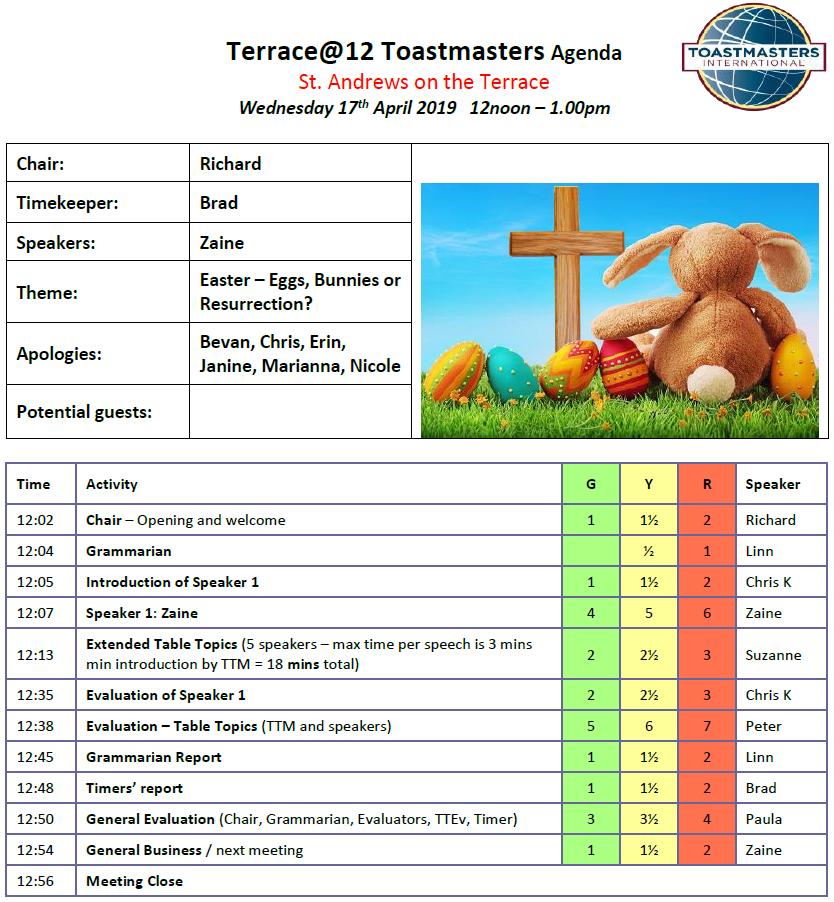Toastmasters meeting – Eggs, Bunnies, or Resurrection