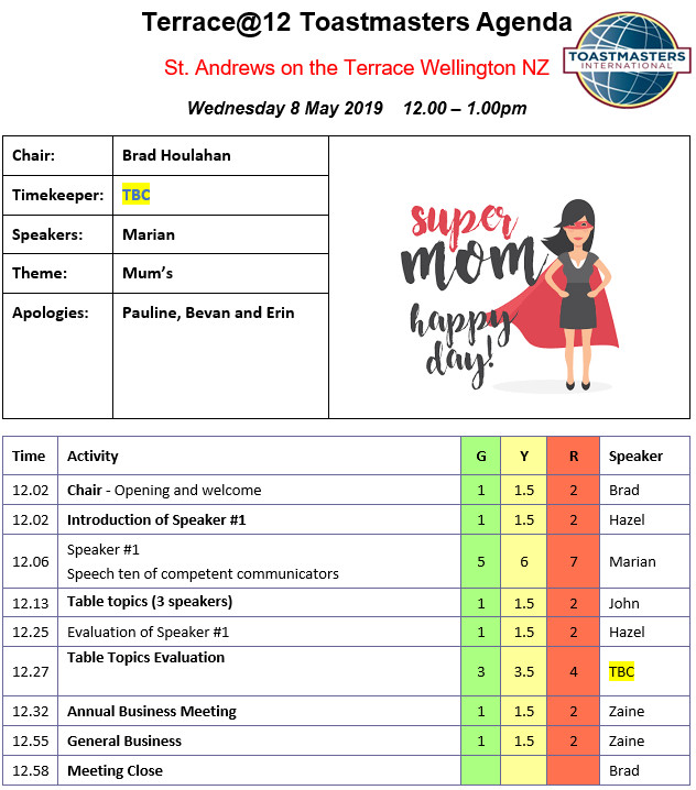 Toastmasters meeting 8th May – Mum's
