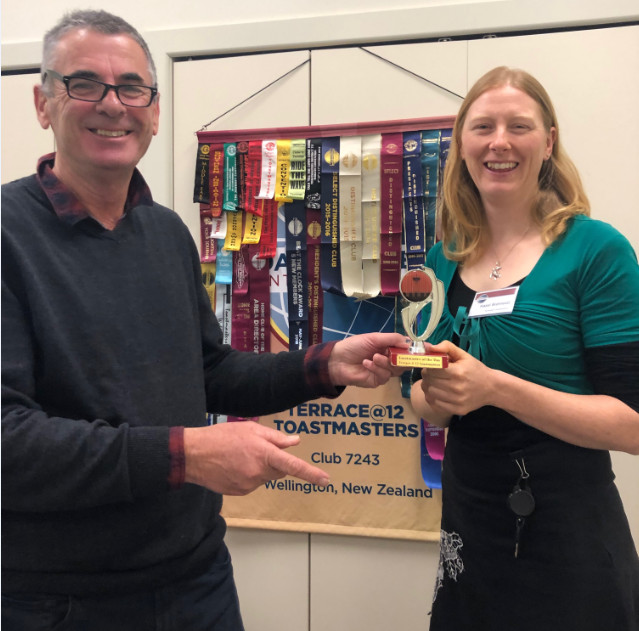 Congratulations to Hazel – Toastmaster of the day and Triple Crown award