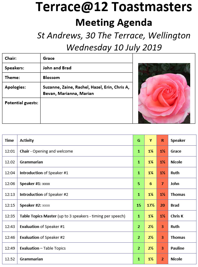 Toastmasters 10th July – Blossom