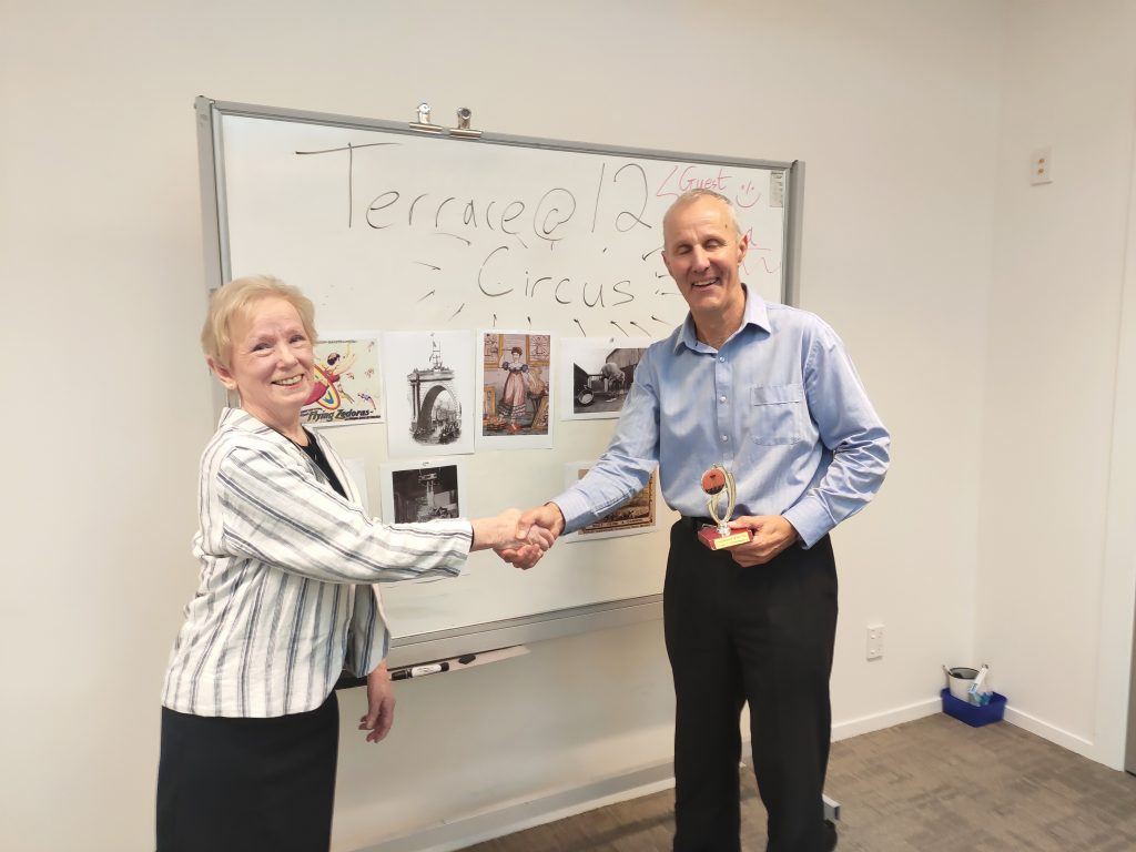 Congratulations to Peter – Toastmaster of the day