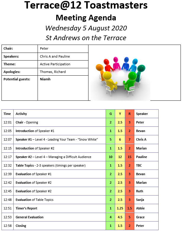 Toastmaster Meeting 5th Aug – Active Participation